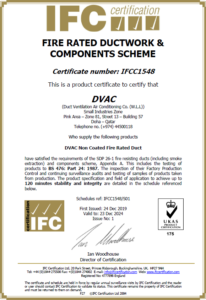 IFC Certificate (Fire Rated Ducts)